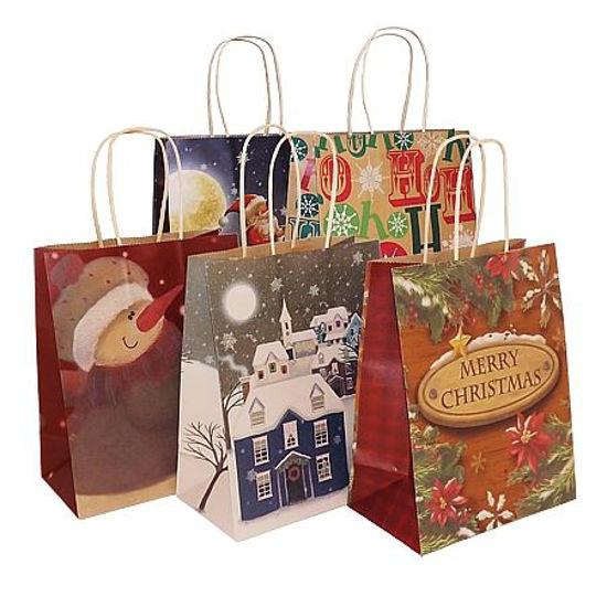 Christmas Print Kraft Paper Medium Gift Bag-5Pk