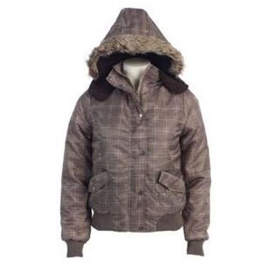 Ladies Plaid Winter Puffy Sherpa Lined Jacket W/Hood-Brown