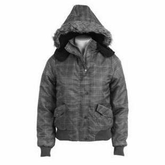 Ladies Plaid Winter Puffy Sherpa Lined Jacket W/Hood-Grey