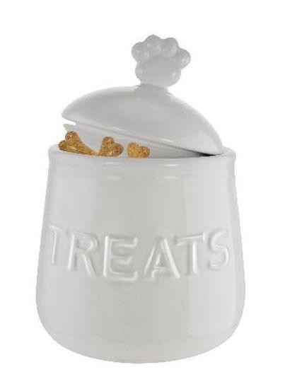 Ceramic Pet Treat Jar- White