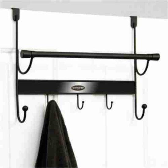 5 Hook Over The Door Hanger With Towel Rod- Black