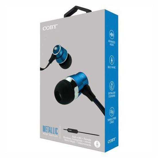 Coby Cve206 Tangle-Free Flat Metal Earbuds/Mic-Bl