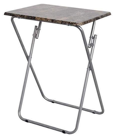 "Marble Tv Table Tray 19""X15""X26"" - Dark Wood"