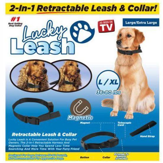 As Seen On Tv Lucky Leash Retractable Collar-L/Xl 36-80Lbs