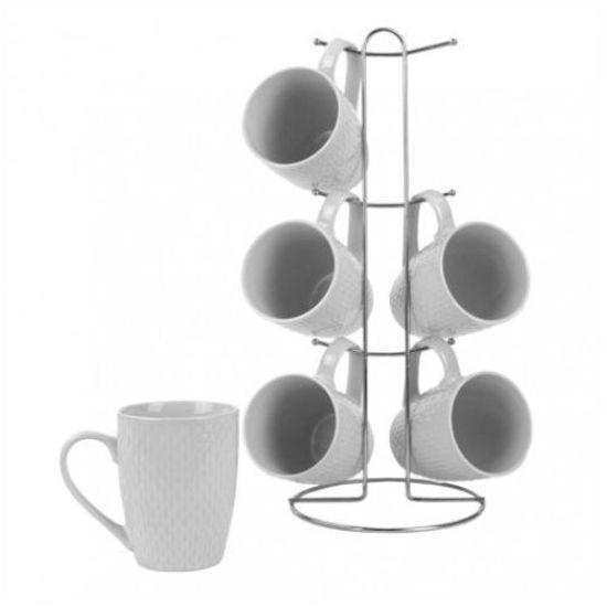 11Oz White Mug Set W/ Stand - 6Pc