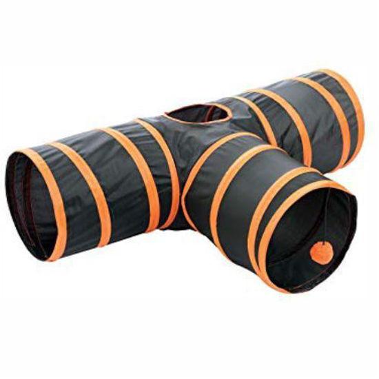 3-Way Cat Tunnel - Black W/ Orange Trim