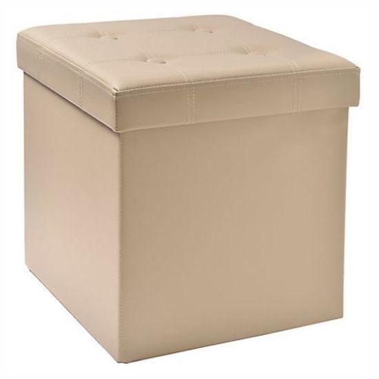 "15"" Tufted Folding Storage Ottoman W/ Tray - Taupe"