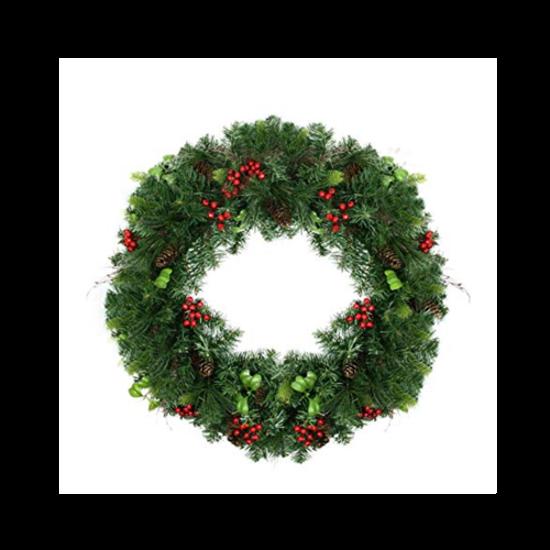 """Arctic Sky 18"""" 115 Tip Wreath W/ Pinecones"""