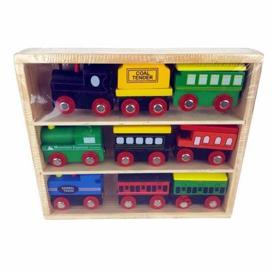 9Pc Wooden Train Set