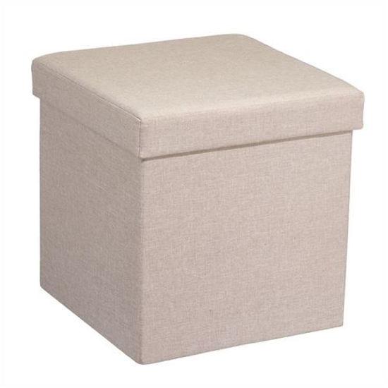 "15"" Linen Folding Storage Ottoman- Beige"
