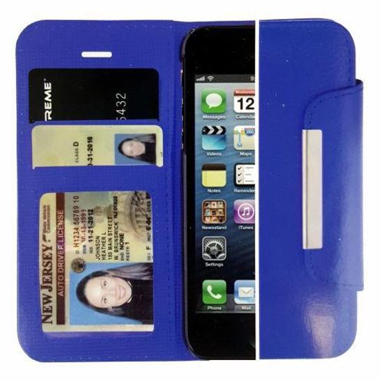 Xtreme Classic Folio Wallet Case F/Iphone 5/5S/Se (Blue)