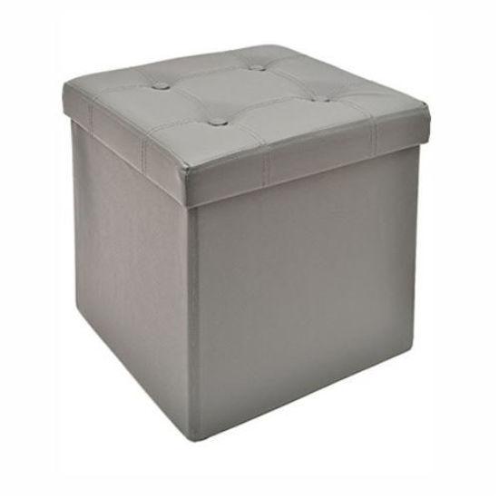 "15"" Pu Folding Storage Ottoman No Stitch- Grey"