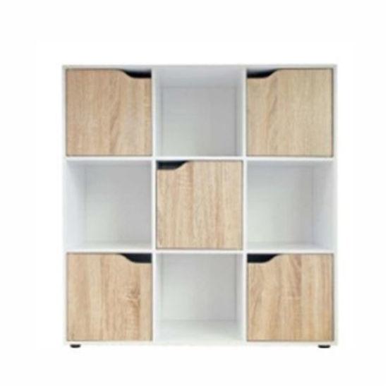 """9 Cube Bookcase W/ 5 Doors 35"""" X 11"""" X 36"""" - Oak/White"""