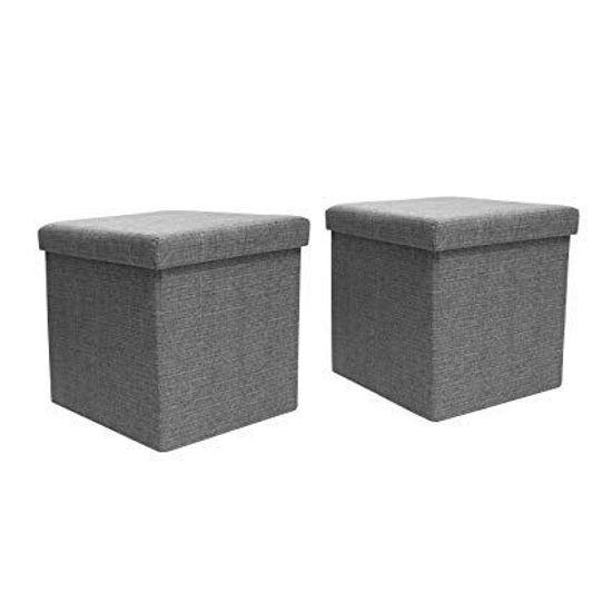 Hard Lid Folding Storage Ottoman Set Of 2 Grey
