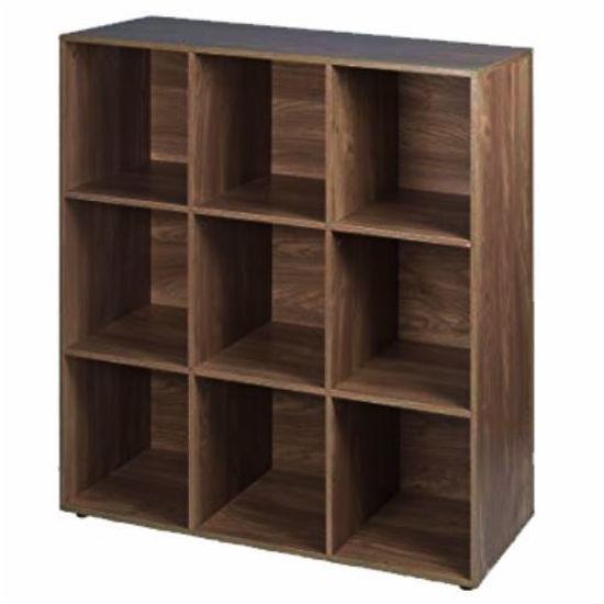 """9 Cube Bookcase - 35"""" X 11"""" X 35""""-Walnut"""