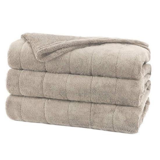 Sunbeam Microplush Heated Blanket-Twin Oatmeal