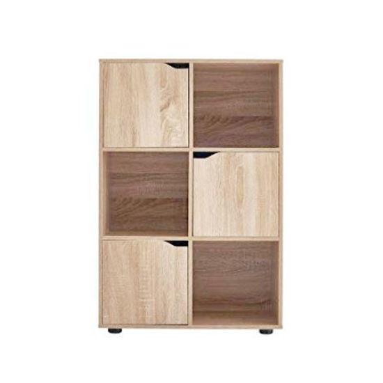 "6 Cube Bookcase With 3 Doors 23""X11""X36""-Light Oak"