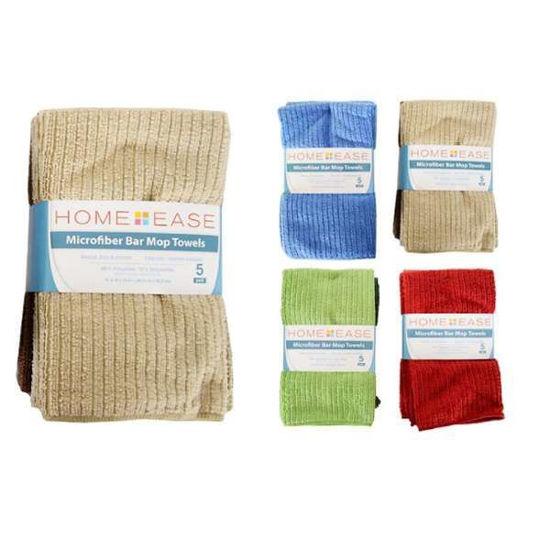 Home Ease  5Pk Microfiber Bar Mop Towels - Asst