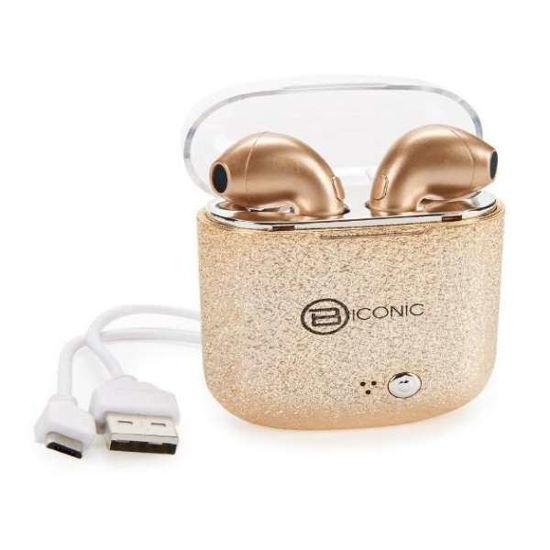 Biconic Unleash True Wireless Bt Earbuds, Glitter Gold