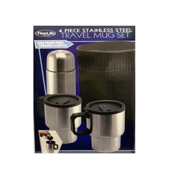 4Pc Stainless Steel Travel Mug Set