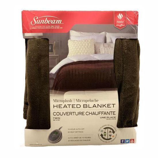 Sunbeam Microplush Heated Blanket-Twin Rich Brown