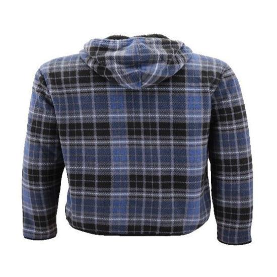 Sherpa Lined Full Zip Hoodie-Blue Plaid