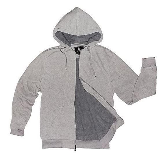 Sherpa Lined Full Zip Hoodie-Grey