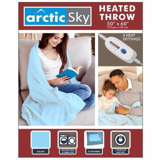 """Arctic Sky 50""""X60"""" Flannel Heated Throw - Light Blue"""