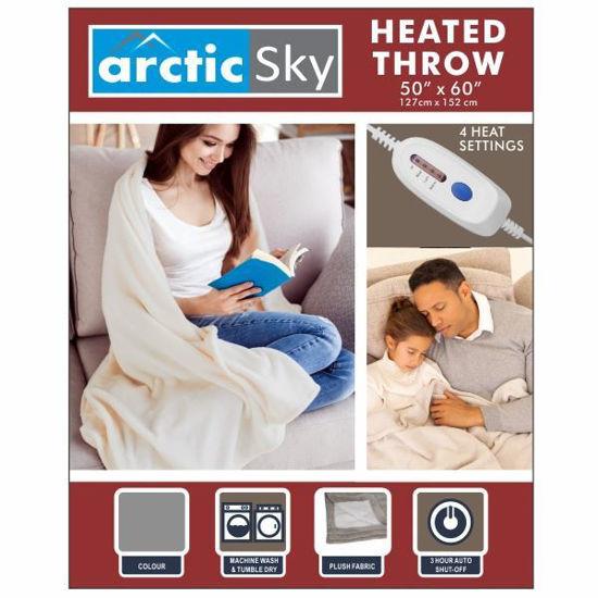 """Arctic Sky 50""""X60"""" Flannel Heated Throw - Grey"""