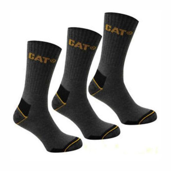 Cat Men's Crew Work Socks Sz 10-13 3Pk Grey