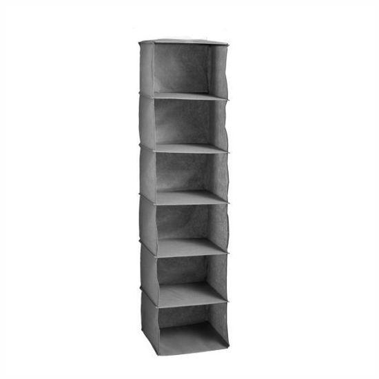 Grey 6 Cube Hanging Closet Organizer
