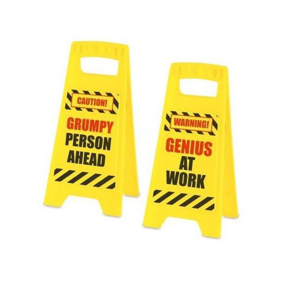 "Fair Warning Sign-Genius&Grumpy 46""X9.4""X4"""