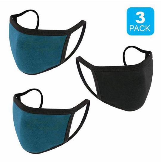 Reusable Cotton Mask 3Pk (Blk+2 Htr Blu) (Non-Medical Grade)
