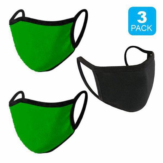 Reusable Cotton Mask 3Pk (Black+2 Green) (Non-Medical Grade)