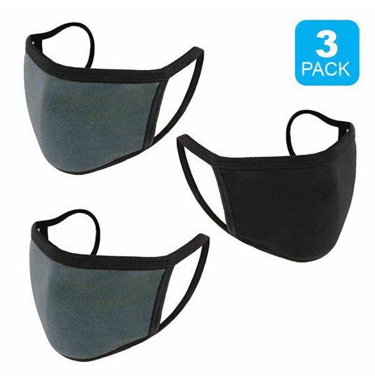 Reusable Cotton Mask 3Pk (Black+2 Drk Gry) Non-Medical Grade
