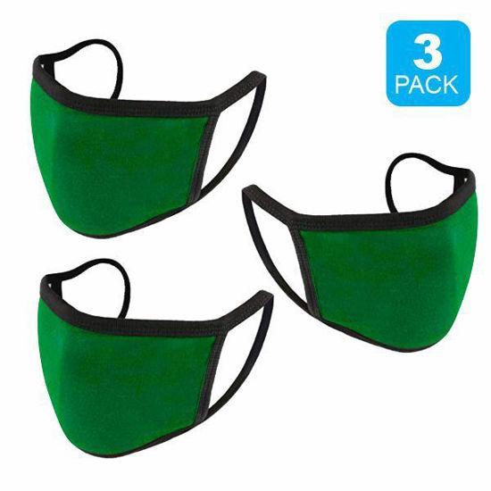 Reusable Cotton Mask 3Pk (Htr Kelly) (Non-Medical Grade