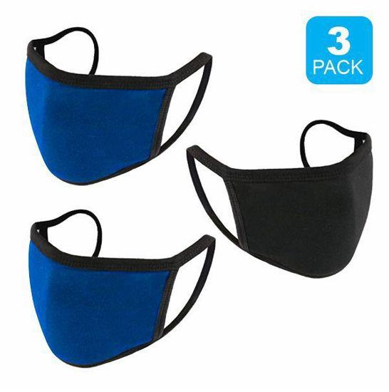 Reusable Cotton Mask 3Pk (Blk+2Royal) (Non-Medi