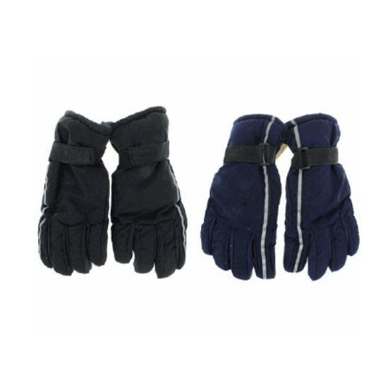 Mens Ski Gloves With Reflective Strap - Asst