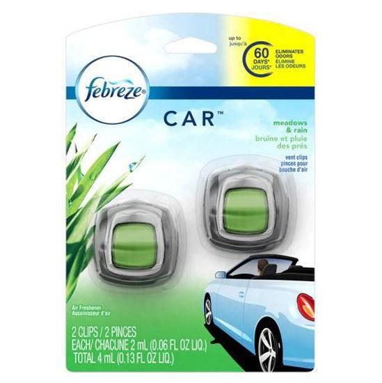 Febreze Car Freshener Meadows % Rain 2Pk