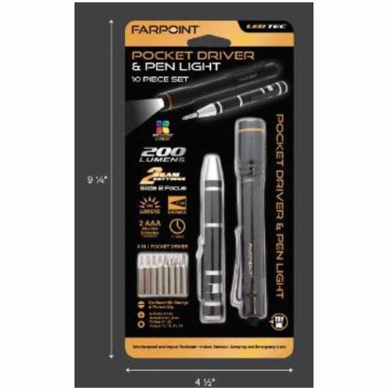 Farpoint 10Pc Pocket Driver & Pen Light