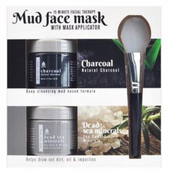 2Pk Mud Face Mask W/ Applicator -Charcoal & Dead Sea Mineral