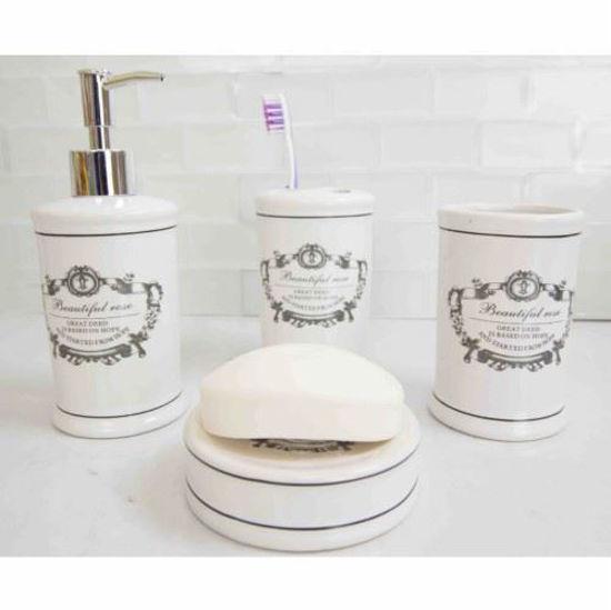 4 Piece Ceramic Bathroom Set