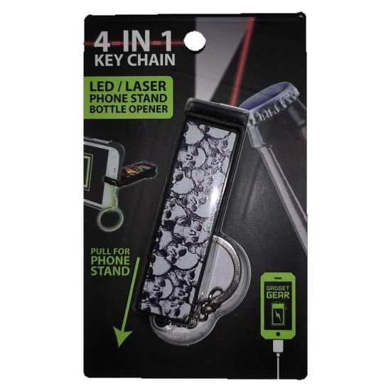 4-In-1 Keychain - Laser, Flashlight, Bottle Open