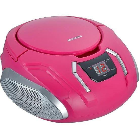 Sylvania Srcd261 Portable Cd/Am/Fm Boombox, Pink