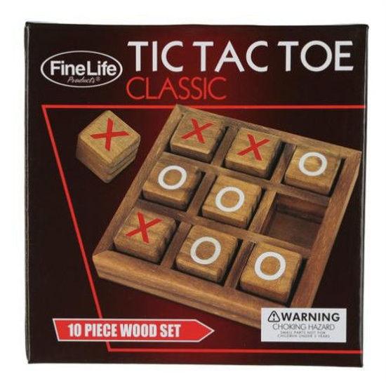Wooden Tic Tac Toe Set-10Pc