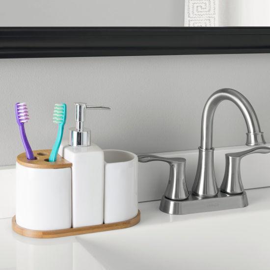 Home Basics Ceramic/Bamboo Bath Set - 4Pc
