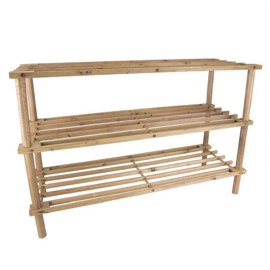 Home Basics 3 Tier Wooden Shoe Rack - Cherry