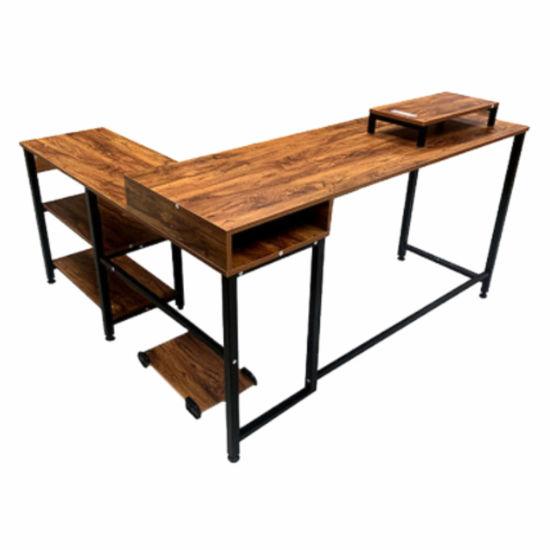 Rustic Wood L-Shaped Desk